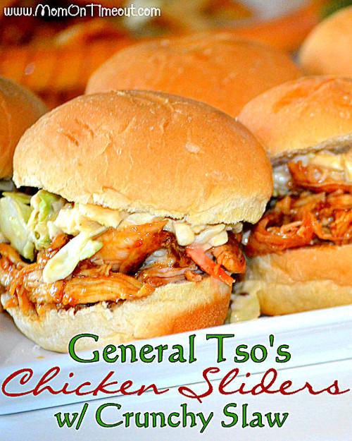 General Tso's Chicken Sliders With Crunchy Slaw - (Free Recipe below)