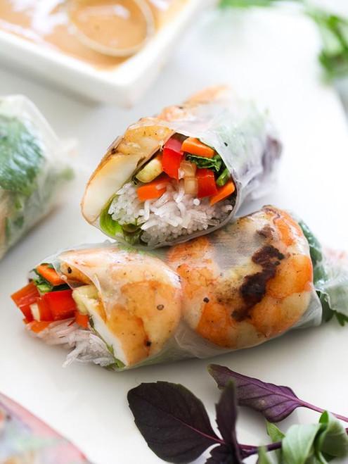 Grilled Shrimp Vietnamese Spring Rolls with Peanut Sauce - (Free Recipe below)