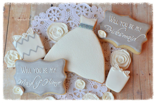 Will You Be My Bridesmaid, Maid Of Honor, Decorated Wedding Cookies Gift Set