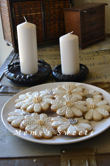 Lovely Royal Flower Icing Cookies - One Dozen