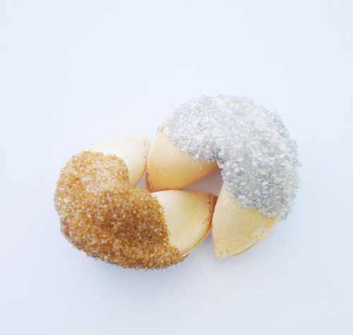 White Chocolate Covered Fortune Cookies With Gold or Silver Sugar - 2 Dozen
