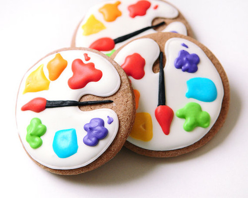 Artist Palette Sugar Cookies - Vanilla or Chocolate - One Dozen