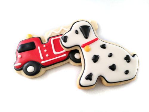 Fire Truck / Fire Engine and Dalmatian Sugar Cookies, Vanilla or Chocolate, 1 Dozen