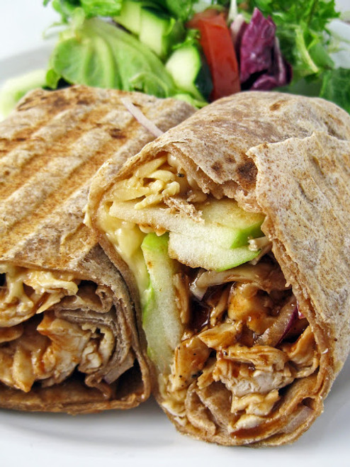 Grilled Barbecue Chicken, Apple and Smoked Gouda Sandwich Wrap - (Free Recipe below)