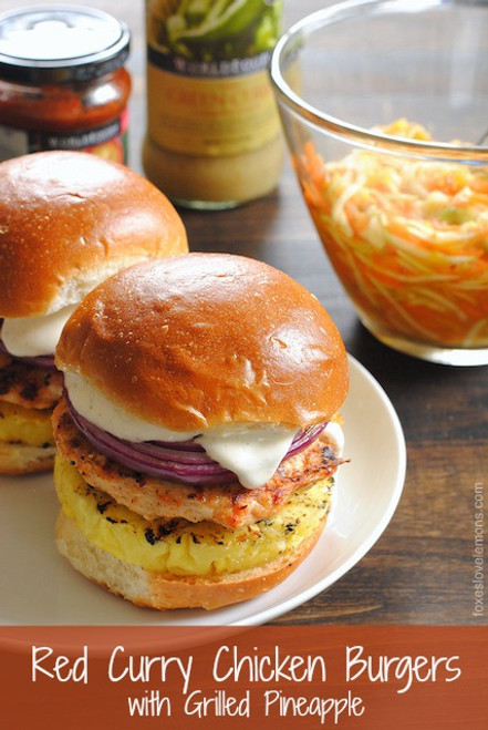 Red Curry Chicken Burgers with Grilled Pineapple - (Free Recipe below)