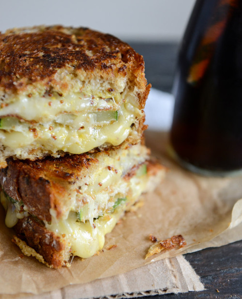 Crispy Zucchini Grilled Cheese with Dijon Horseradish Aioli - (Free Recipe below)