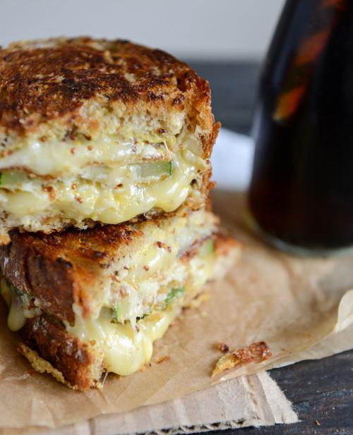 Crispy Zucchini Grilled Cheese with Dijon Horseradish Aioli - (Free Recipe below)