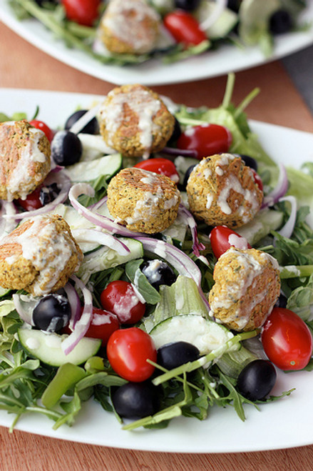 Baked Falafel Bites with Creamy Tahini Dressing - (Free Recipe below)