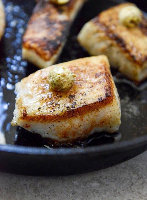 Crisp Skillet Sea Bass with Pistachio Butter - (Free Recipe below)