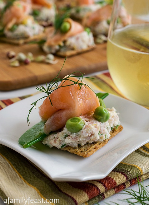 Ceviche Salmon and Peas on Triscuit Crackers - (Free Recipe below)