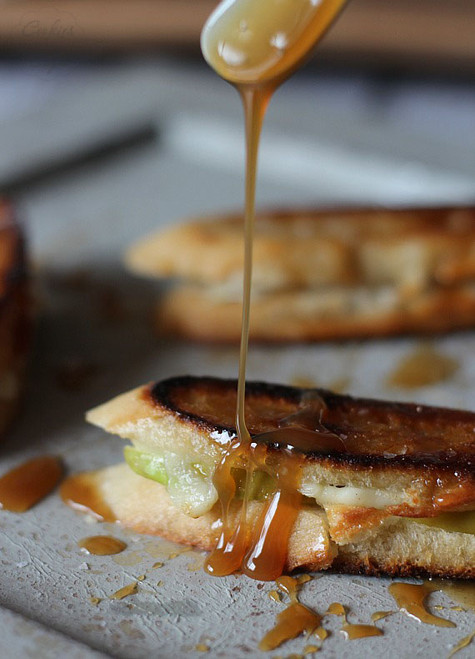 Brie and Apple Grilled Cheese with Caramel Sauce - (Free Recipe below)