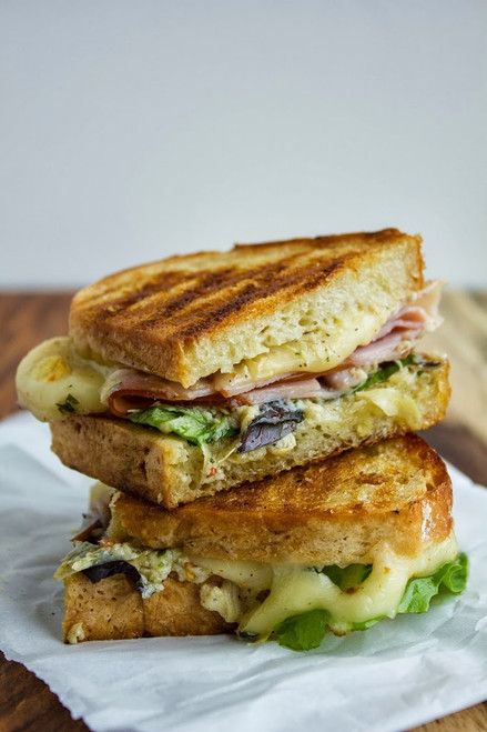 Grilled Ham, Cheese and Artichoke Lemon Pesto Sandwich - (Free Recipe below)