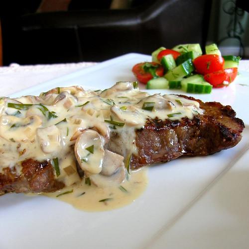 Grilled Steak with Mushroom Tarragon Cream Sauce - (Free Recipe below)