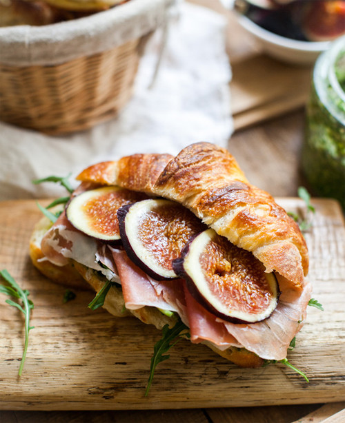 Croissants with Pesto, Rucola, Figs, Prosciutto and Gruyère - (Free Recipe below)