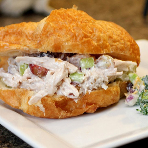 Brie, Herb, Fig and Chicken Salad Croissant Sandwich - (Free Recipe below)