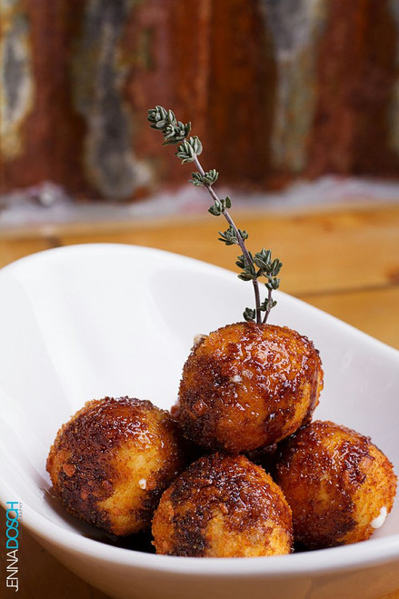 Fried Goat Cheese Balls with Honey Balsamic Reduction - (Free Recipe below)