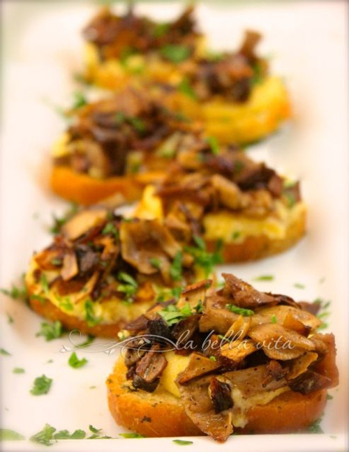 Polenta Crostini Bites with Caramelized Porcini Mushroom Cicchetti - (Free Recipe below)