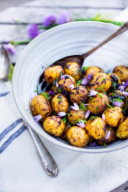 Grilled Potato Salad Recipe with Black Garlic Vinaigrette and Dill Cream - (Free Recipe below)
