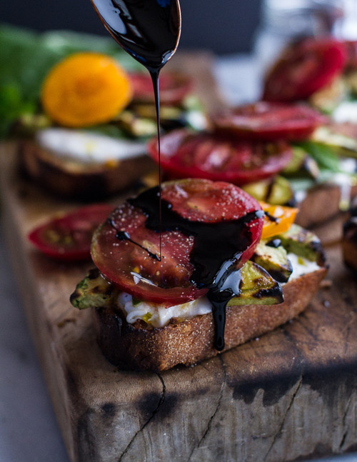 Grilled Caprese Toast with Burrata Cheese and Grilled Avocados - (Free Recipe below)