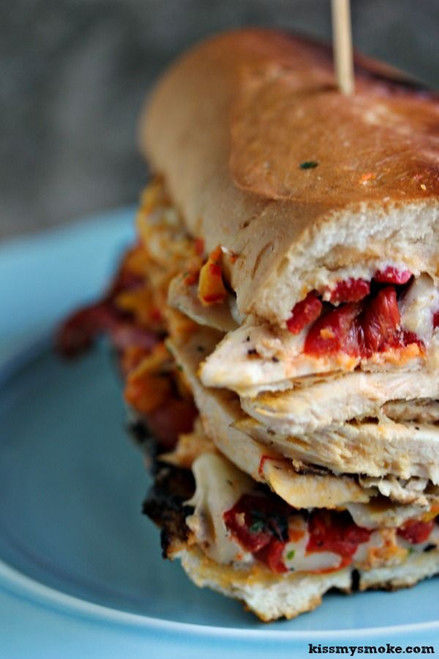 Smoked Grilled Chicken Pesto and Roasted Pepper Sandwich - (Free Recipe below)