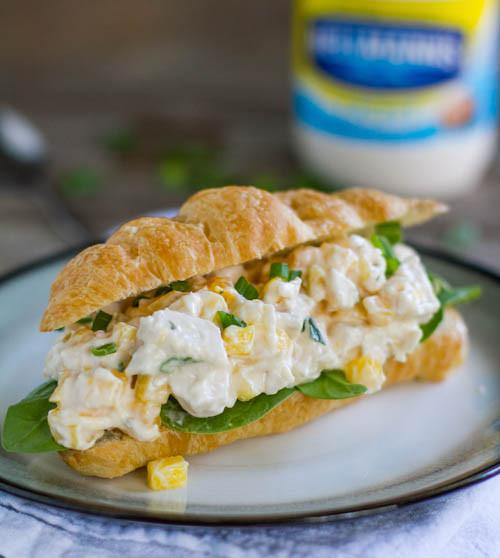 Mango Chicken Salad Croissant Sandwich - (Free Recipe below)