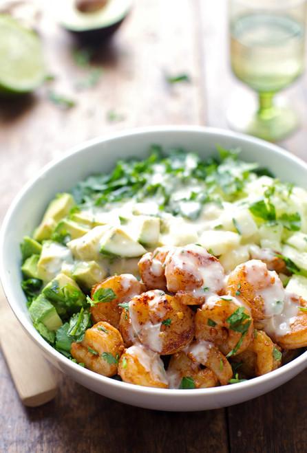 Shrimp and Avocado Salad with Miso Dressing - (Free Recipe below)