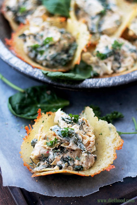 Spinach and Artichoke Dip Parmesan Cups - (Free Recipe below)