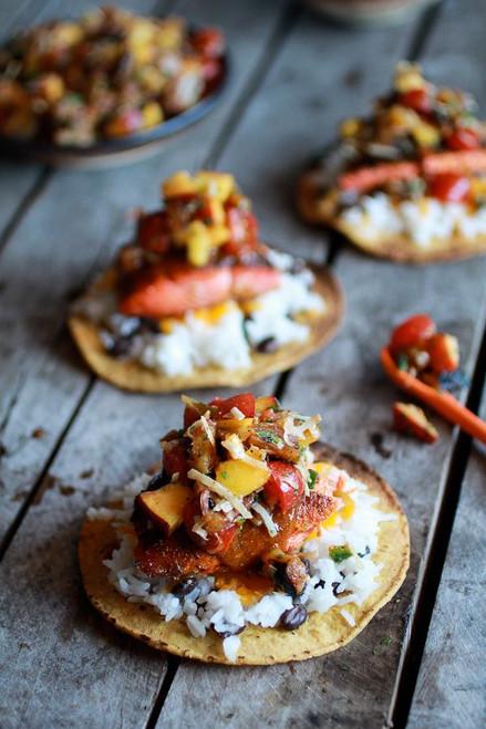 Caribbean Jerk Salmon Tostadas with Grilled Pineapple Peach Salsa - (Free Recipe below)