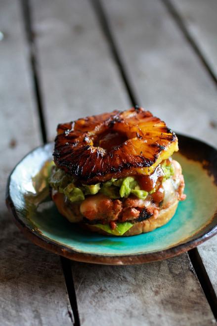 Hawaiian BBQ Salmon Burgers with Coconut Caramelized Pineapple - (Free Recipe below)