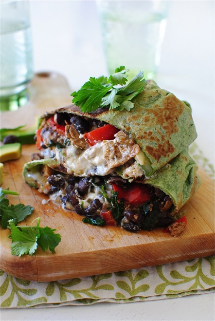 Salsa Verde Chicken and Black Bean Wrap / Burrito - (Free Recipe below)