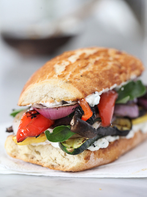 Grilled Vegetable Sandwich with Herbed Ricotta - (Free Recipe below)
