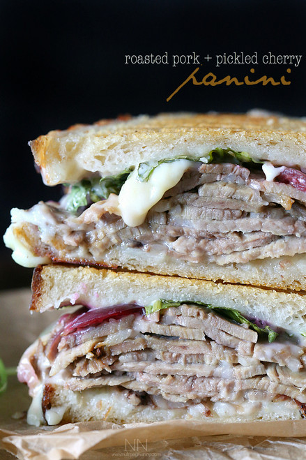 Roasted Pork, Pickled Cherry Panini - (Free Recipe below)