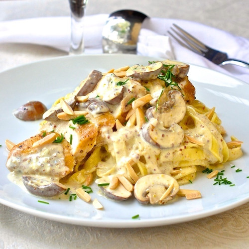 Dijon Chicken Linguine with Crimini Mushrooms and Toasted Almonds  - (Free Recipe below)