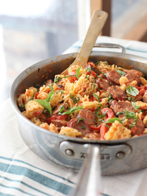 Creamy Roasted Red Pepper and Chicken Sausage Pasta - (Free Recipe below)