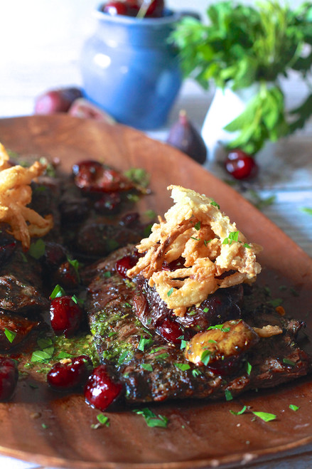Grilled Skirt Steak with Roasted Cherries and Figs with Crispy Onions - (Free Recipe below)