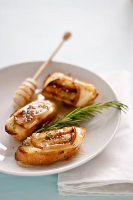 Grilled Pear, Honey, and Brie Crostini - (Free Recipe below)