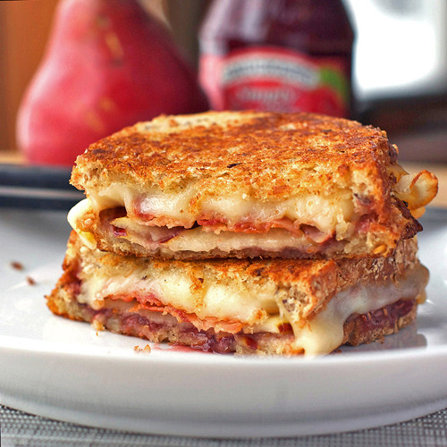 Pear, Bacon and Raspberry Grilled Cheese - (Free Recipe below)