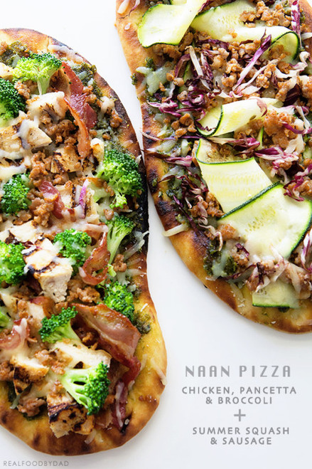 Chicken, Pancetta and Broccoli Naan Pizza - (Free Recipe below)