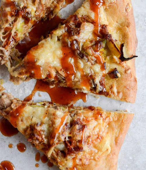 Pulled Pork Pizza with Maple Leeks, Roasted Garlic and Aged Cheddar - (Free Recipe below)