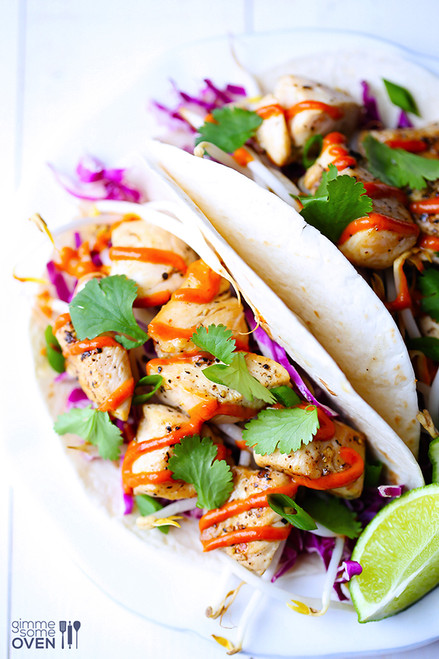 Thai Chicken Tacos with Peanut Sauce - (Free Recipe below)