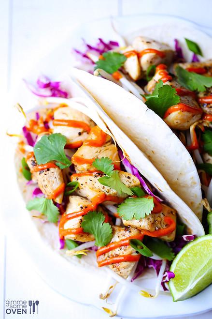 Thai Chicken Tacos with Peanut Sauce - (Free Recipe below)