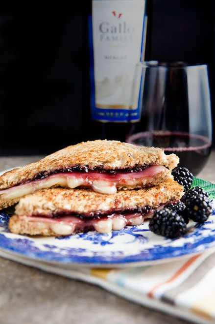 Brie, Ham, and Blackberry Grilled Cheese - (Free Recipe below)