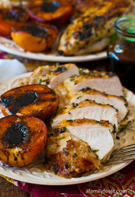 Grilled Basil Garlic Chicken Breasts with Balsamic Grilled Peaches - (Free Recipe below)