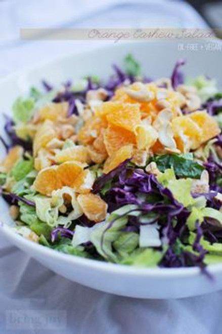 Crunchy Orange Cashew Salad w/ Creamy Orange Dressing - (Free Recipe below)