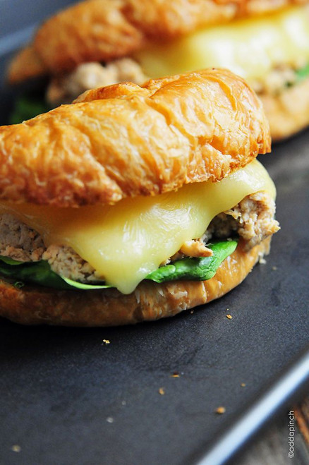Toasted Balsamic Chicken Salad Croissant Sandwich - (Free Recipe below)