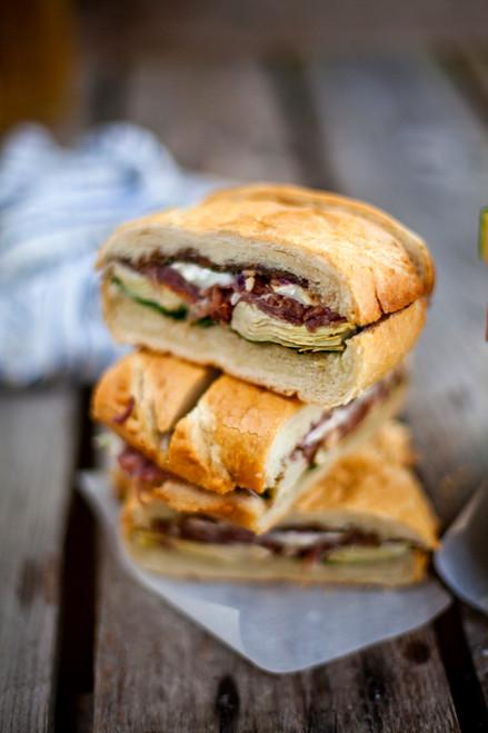 Marinated Artichoke, Prosciutto & Goat Cheese Sandwich - (Free Recipe below)