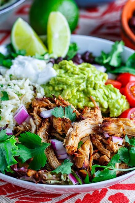 Chicken Carnitas Burrito Bowl with Cilantro Lime Cauliflower Rice - (Free Recipe below)