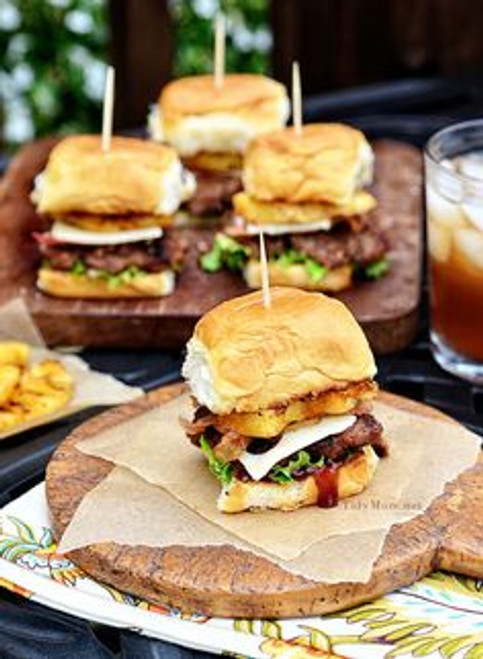 Hawaiian BBQ Mini Burgers / Sliders - (Free Recipe below)