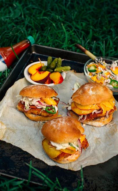 Fried Tofu Sliders with Spicy Peach Slaw - (Free Recipe below)