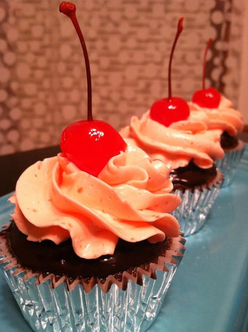 Dark Chocolate Covered Cherry Cupcakes - One Dozen